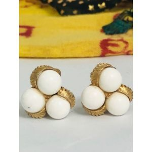 Vintage Earrings Lucite Ball Gold Costume 60s Clip